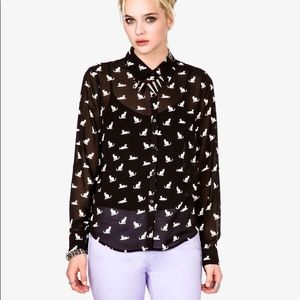 Forever 21 cat print blouse black L